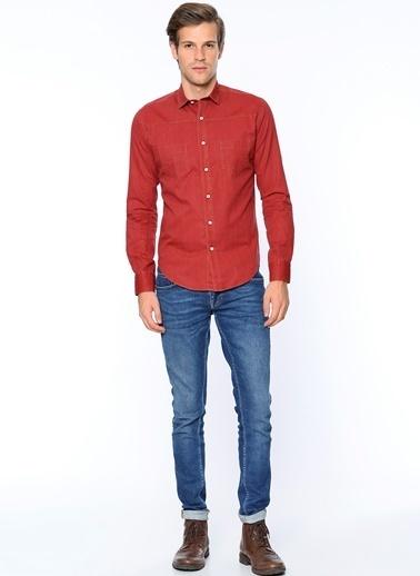 Wessi Uzun Kollu Slim Fit Gömlek Bordo